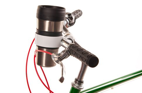 Handlebar Cup Holder-  seems a bit over the top. But maybe useful if you don't have a basket.