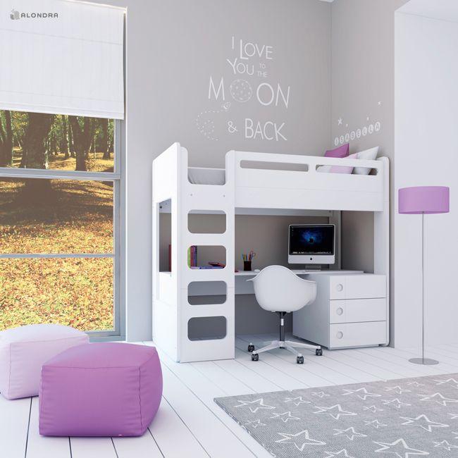 Literas juveniles para habitaciones infantiles de niños y niñas. Literas con escritorio en color blanco. ¡Cuidamos de cada detalle!