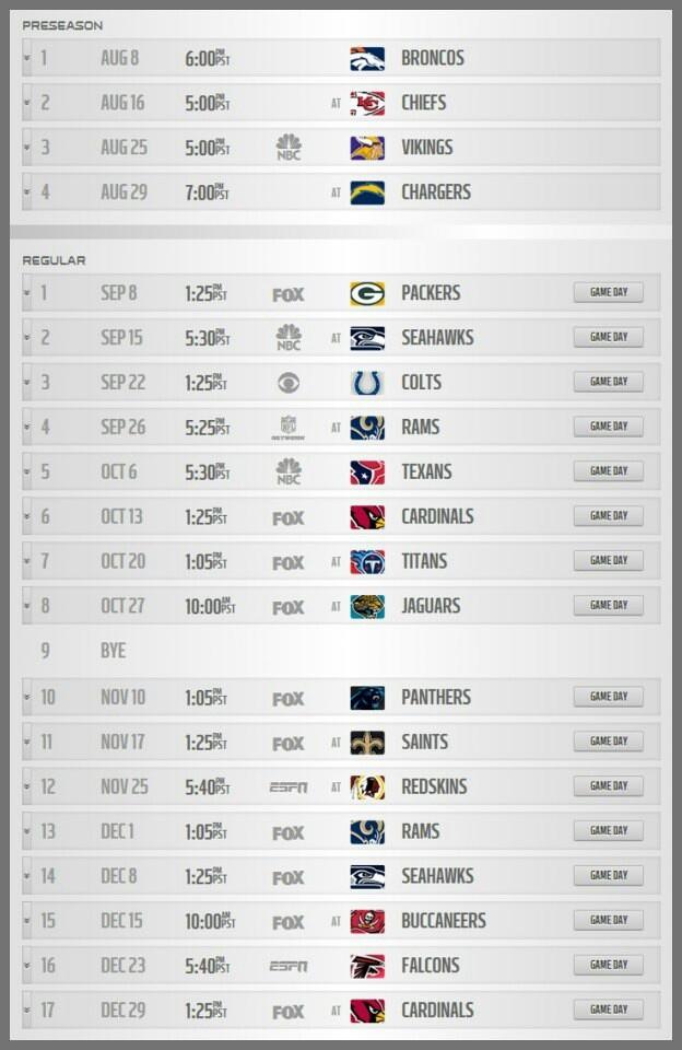 2013 49ers schedule