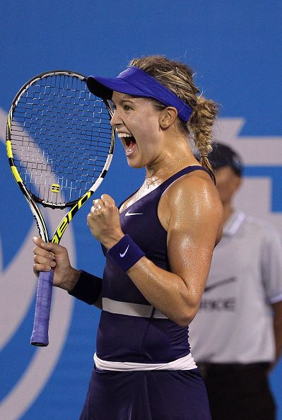 9/26/14 #6-Seed Eugenie Bouchard advances to Inaugurual Wuhan Open FINAL after def. #8-Seed Caroline Wozniacki 6-2, 6-3 in their 1st SFs since losing in their respective Wimbledon & U.S. Open Grand Slam FINALS.