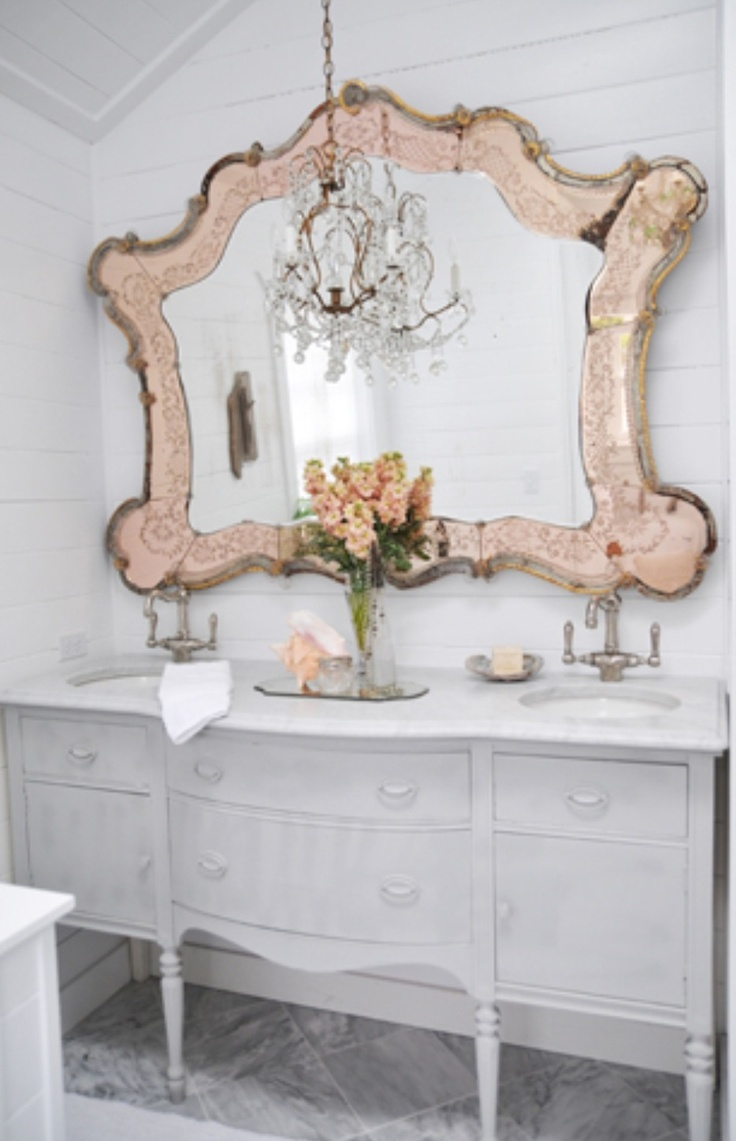 24 best new salon ideas images on pinterest beauty salons double sink in an old antique buffet with a rose gold vintage mirror and chandelier not so prissified but this might be a good repurpose for grandma amipublicfo Images