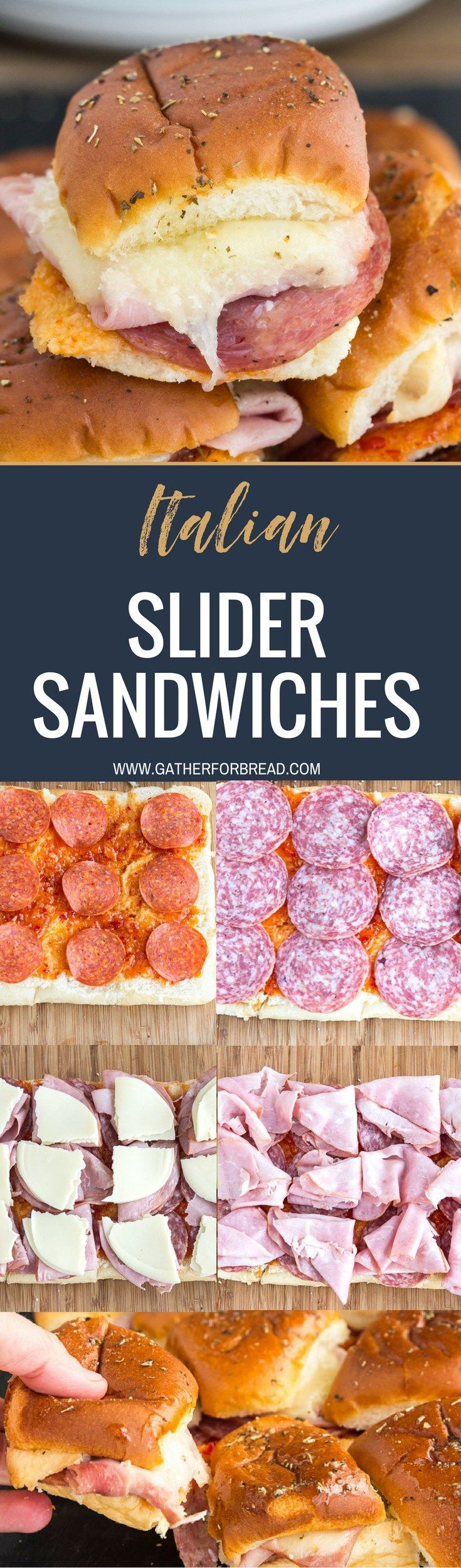 Italian Slider Sandwiches - Sliders stuffed with Italian meats, ham, salami, pepperoni, cheese, baked to perfection. Great appetizer for parties, gatherings! #slider #sandwiches #gameday #pepperoni #Italian