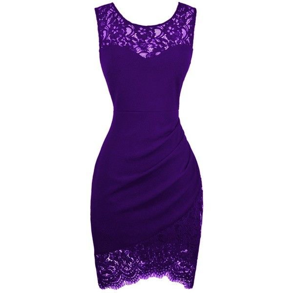 Swiland Women's Bodycon Sleeveless Little Cocktail Party Dress With... ($9.99) ❤ liked on Polyvore featuring dresses, cocktail dresses, floral bodycon dress, bodycon dress, purple lace cocktail dress and floral cocktail dresses