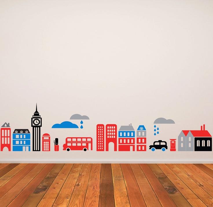 Children Wall Decal Kids Murals  London City   15 x 63. $78.00