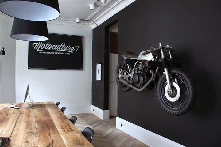 Motorcycle wall mount matte black painted wall wood for Flat black wall paint