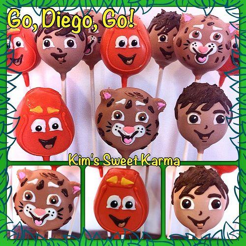 Go, Diego, Go! cake pops. https://www.facebook.com/Kimssweetkarma