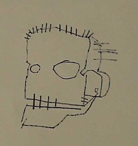 skull by basquiat