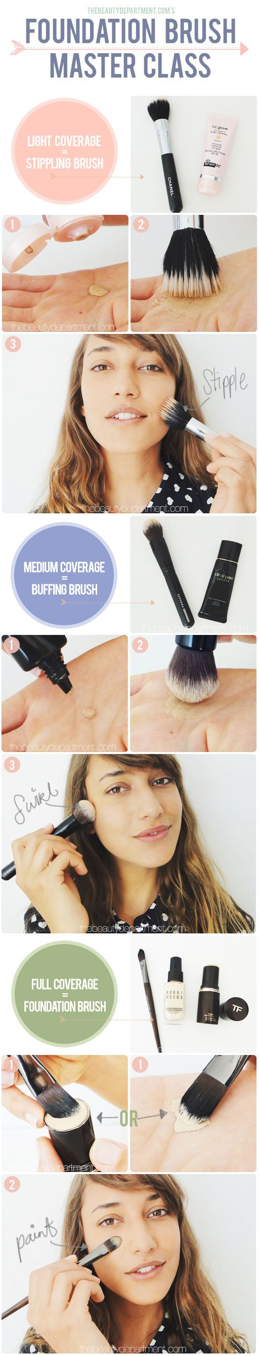 Use the specific foundation brush for the coverage you want! #contour #highlight #blush #makeup #tips #tricks #beauty #DIY #doityourself #tutorial #stepbystep #howto #practical #guide #contouring