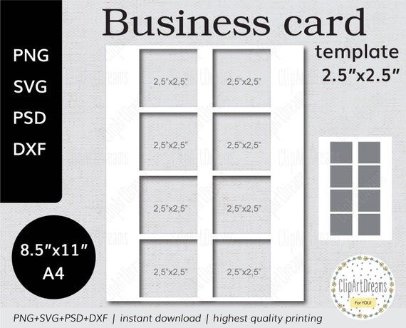 2 5x2 5 Business Card Template Square Instant Etsy Business Card Template Card Template Digital Svg