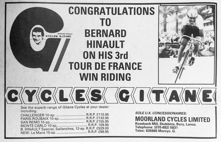 Cycles Gitane advertisement from 1981 #cyclesgitane #bernardhinault #vintagecycling #eroica #cyclingmemorabilia #hookedoncycling #cyclingadvertising #rouleur #cyclingadvert #bicyclelife #cyclepassion #bicyclepassion #roadcycling #tourdefrance #graphicdesign #cyclingfans #lovecycling #retrobicycle #hinault