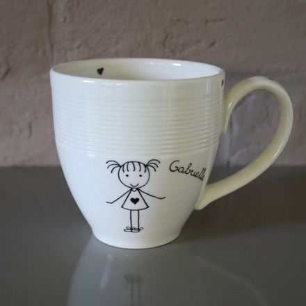 Tasse en véritable porcelaine blanc cassé peint à la main avec de la peinture sur porcelaine et ensuite cuite à très haute température.    Prix 35 € pour 1 personnage. 5 - 19372043