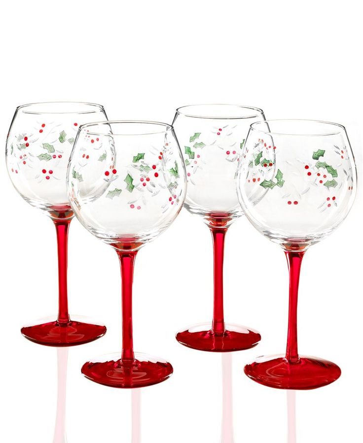 Pfaltzgraff Glassware, Set of 4 Winterberry Wine Glasses - Holiday Drinkware - Holiday Lane - Macy's