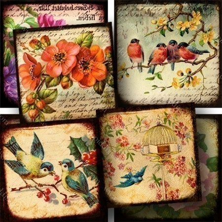 Printable little collages made from flowers and birds from dozens of different Victorian-era postcards, handwriting from the 1700s, and images from a Parisian 1850s book I own that has the most amazing engravings, by piddix.