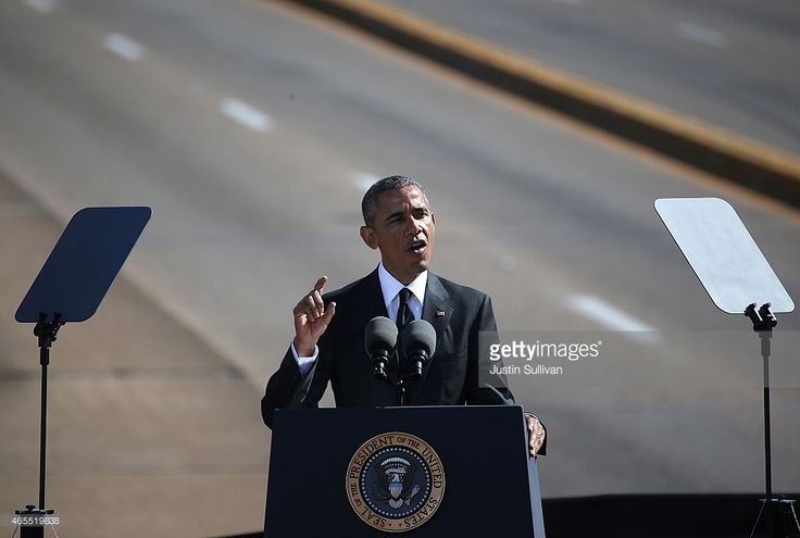U.S. President Barack Obama speaks in front of the Edmund Pettus Bridge on March 7, 2015 in Selma, Alabama. Selma is commemorating the 50th anniversary of the famed civil rights march from Selma to Montgomery that resulted in a violent confrontation with Selma police and State Troopers on the Edmund Pettus Bridge on March 7, 1965.