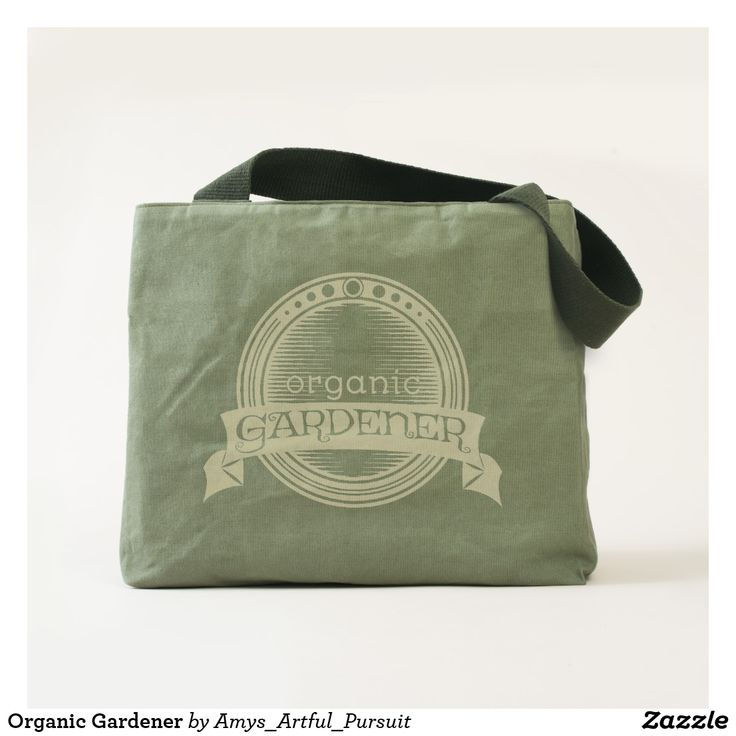 Organic Gardener Canvas Bag  Made with 18 oz safari cotton canvas this bag is made to last.  It has an inner pocket to help you stay organized and heavy duty straps to help you make the most out of this reusable bag.  The design is a badge to brag about your organic garden.