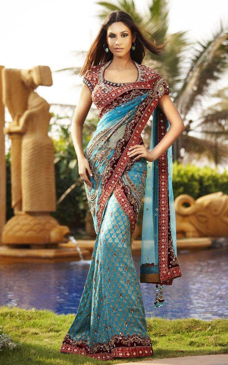 Teal & Red Sari