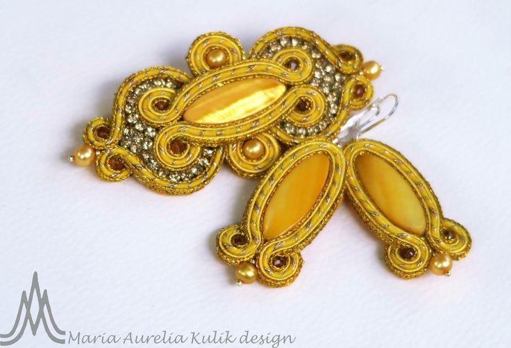 brooch and earrings Soutache