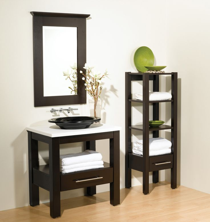 Bertch Interlude Vanity Birch Sable (ours Will Not Have Drawer  Will Have  Towel Bar And White Vessel Sink