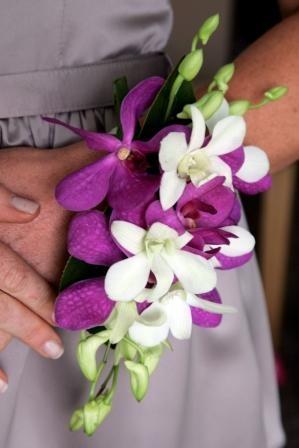 Fancy wrist corsage - fuchsia orchid for my wedding bridesmaids in Bali