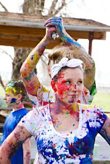 AWESOME Hunger Games/Paint war party. This. Is. Awesome!!!! I think this would be a fun teen activity *hint* *hint* :D Okay, maybe we can do this @Naomi Francois Ames . As long as we have as much fun as I see people having in pictures and I look as cute as this girl. ;)