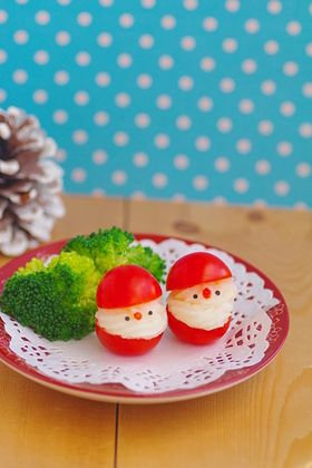 Cherry Tomato Christmas Santa Claus with Mashed Potato