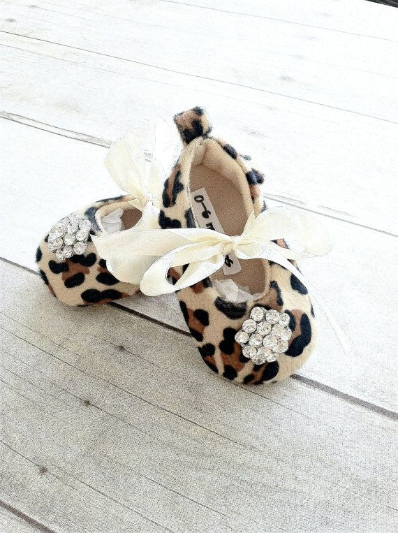Leopard Baby Girl Shoes Little Girls crib by FancyFaceCouture
