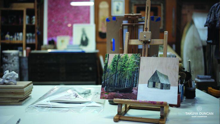 "Artist Scott Bluedorn - New Work  Canoe Place & A Hut (right) both 8"" x 10"" acrylic on wood   #artist #art #outdoors #hamptons"