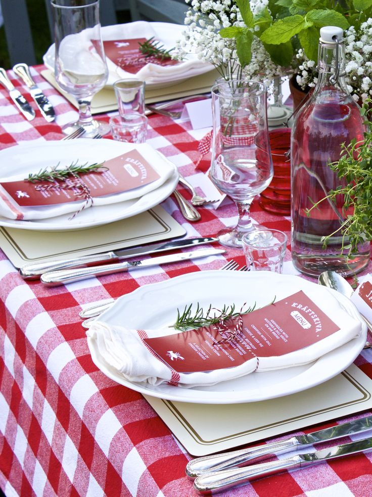Table Setting for Swedish inspired Crayfish Party