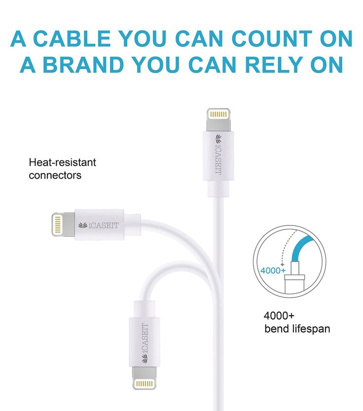 Amazon.com: [Apple MFi Certified] iCASEIT Lightning to USB Cable 1m / 3.3ft for iPhone 6, 6 Plus, 5S, 5C, 5, iPad Air, Mini, iPod Touch & iPod Nano - 1m / 3.3ft - White: Computers & Accessories