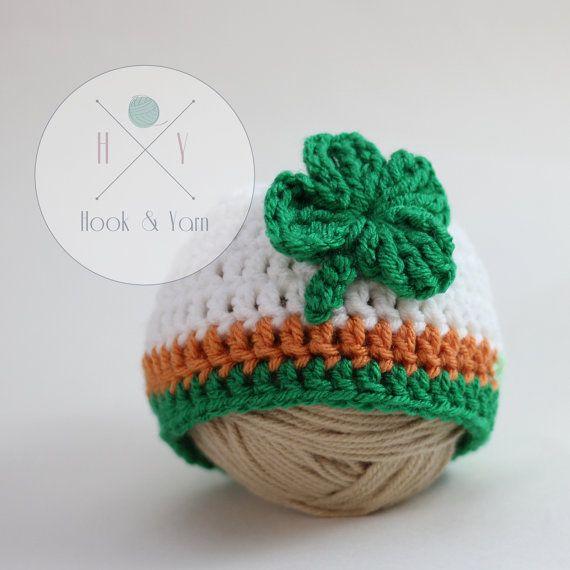 St. Patrick's Day hat. Irish shamrock 4 leaf by ReneesHOOKnYARN
