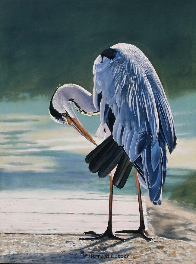 Site peinture a l huile peinture naturaliste h ron bernard gu don peintre art animaux - Pinterest peinture a l huile ...