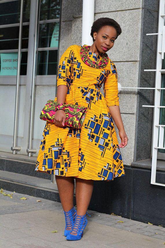 Yellow African print dress Ankara African by EssieAfricanPrint