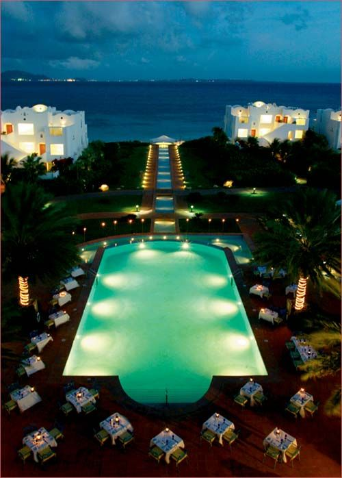 The Cuisinart Resort in Anguilla after sunset. Photo via 4-caribbean-villas.com