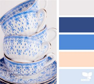 : Porcelain Blues, Color Palettes, Color Inspiration, Blue Color, Colour Palette, Blue And White, Color Combination