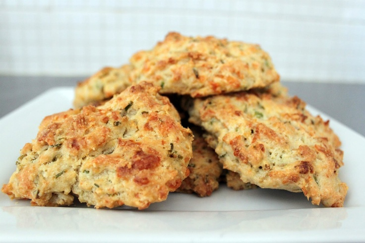 Cheese and chive scones with garlic butter - She's British; she means biscuits...