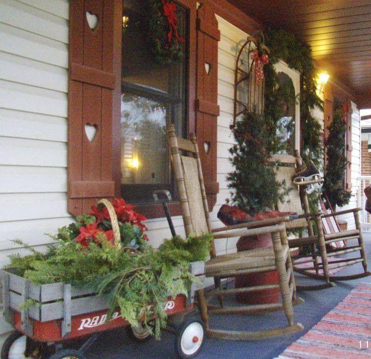 Pinterest Christmas Porch Decorations: Prim Country Christmas Porch.....