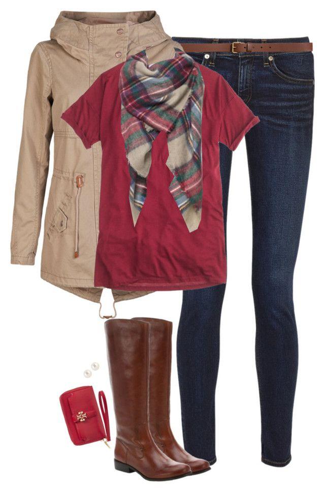 """""""Red, khaki & plaid"""" by steffiestaffie ❤ liked on Polyvore featuring mode, rag & bone, H&M, ONLY, J.Crew, Ciao Bella, Henri Bendel et Tory Burch"""