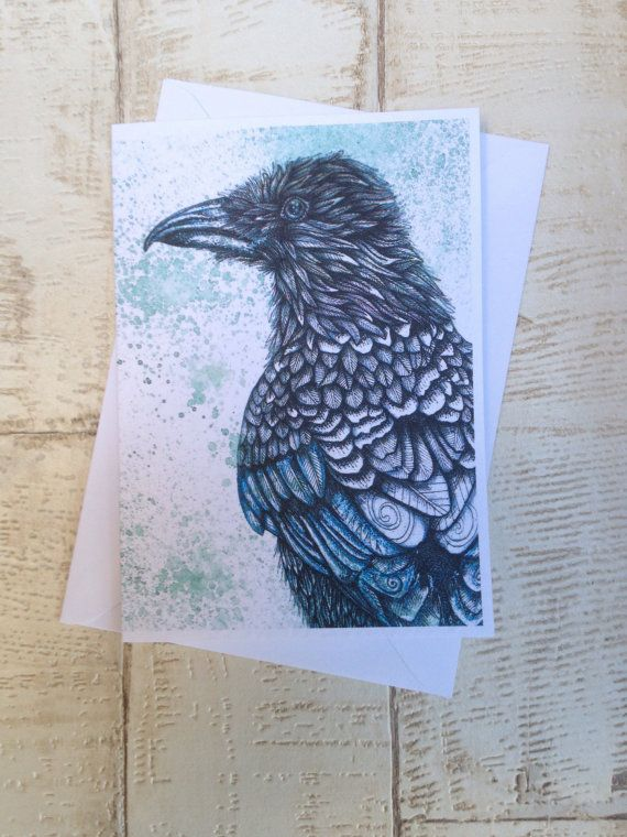 Raven, Raven art, raven print, corvid, crow, crow art, crow drawing, raven sketch, Raven Card, A6 Greeting Card, Greetings card, Anna Emellia Howlett, Rosehart Studio,