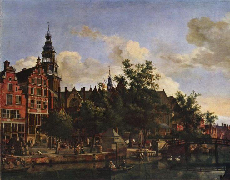 Città e paesi. Jan van der Heyden: Veduta dell'Herengracht, ad Amsterdam. Olio su tela, del 1670. Collezione privata. Una bella immagine di vita cittadina, con il bel canale su cui transitano merci, ma anche cigni.