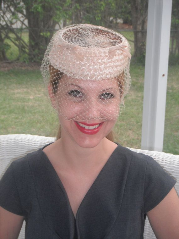 Vintage Cream Veiled Pill Box Hat Mid Century by Donellensvintage, $40.00