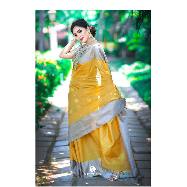 Buy Mustard Yellow Transparent Silk Saree with Grey Blouse ...