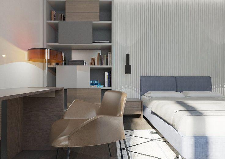 Рабочая зона в спальне. Современный интерьер в светлых тонах. Спальня в современном стиле в данном проекте объединяет несколько функций. Стена за кроватью так же, как и в гостиной, декорирована гипсовыми панелями. Прикроватное освещение обеспечивают подвесные светильники над тумбочками. Кабинет комфортно расположился в спальне. Нашлось место для вместительного книжного шкафа и полноценного письменного стола.