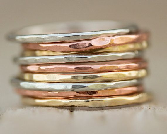 Stacking Rings / Rose Gold Stacking Ring Set / by amywaltz on Etsy