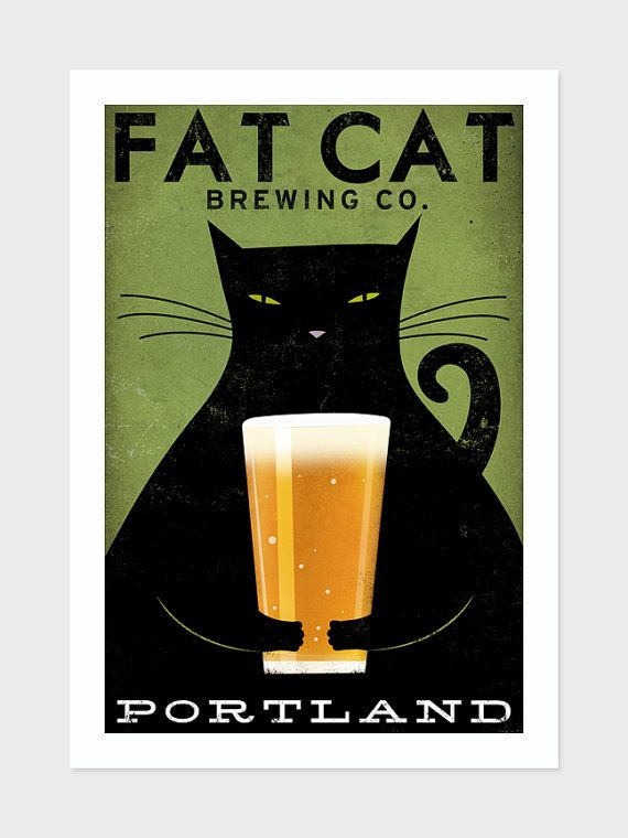 MADE to ORDER Fat Cat Brewing Company Black Cat Graphic Art Illustration 12x18 giclee print SIGNED on Etsy, $45.00