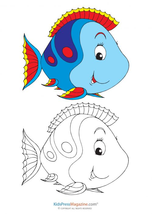 Fill In The Color Blue Fish Printable Coloring Page