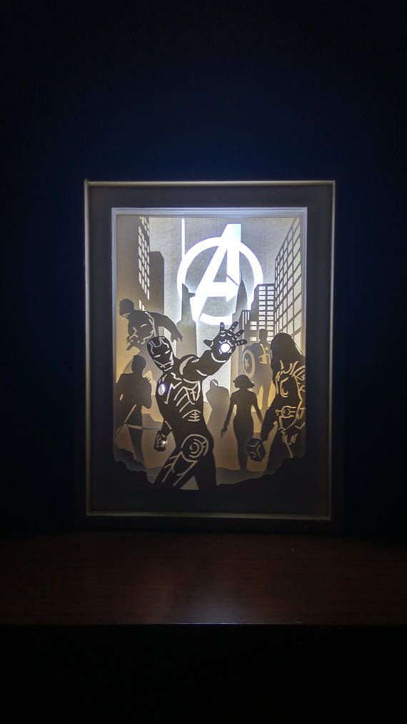 avengers papercut night light marvel superhero themed