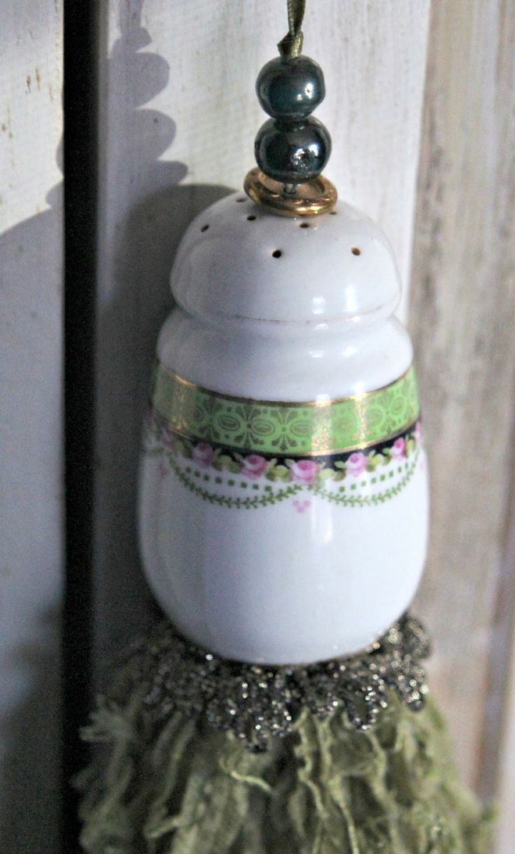 Upcycled tassel from vintage salt shaker