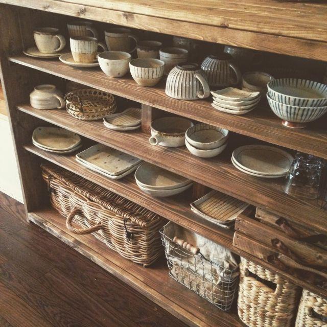 noroさんの、My Shelf,rutawa rawajifu,食器棚DIY,賃貸でも楽しく♪,和食器好きです♡,インスタ→chii_neについての部屋写真