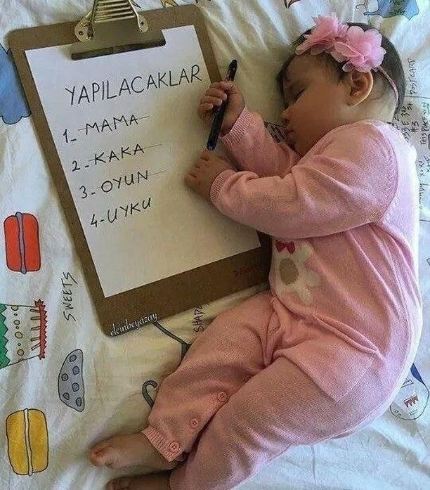 To do: formula, poop, play, sleep