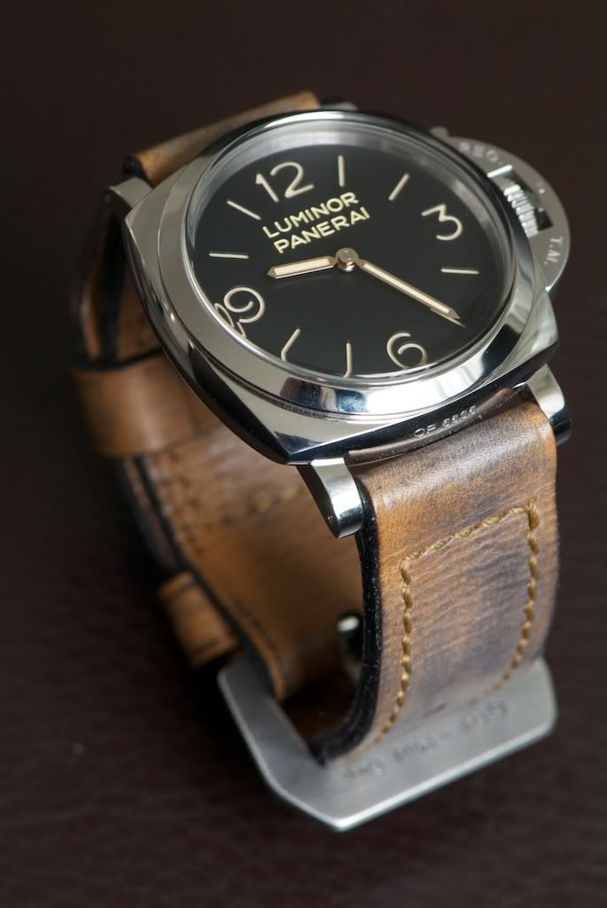 ♂ masculine watch Luminor Panerai  by Officine Panerai (www.panerai.com) - Hand-wound mechanical, matt black luminous dial and leather strap #Watch